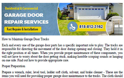 How to Maintain Garage Door Tracks in Northridge